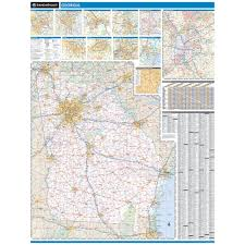 Augusta Ga Map Rand Mcnally Georgia State Wall Map