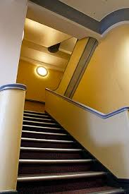 stairs with yellow walls gray trim gold and grey pinterest