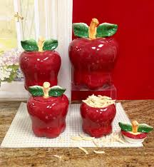 Decorative Canisters Kitchen by Amazon Com Set Of 4 Apple Shaped Red Ceramic Canisters Country