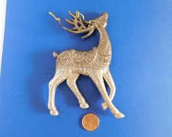 Glitter Reindeer Christmas Decorations by Glittery Reindeer Gold Glitter Figurine Statue Figure Sequined