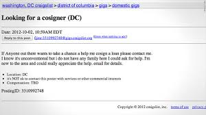 Seeking Ad Desperately Seeking Co Signers On Craigslist