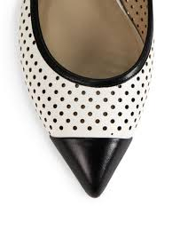 lyst michael kors jane bicolor perforated leather flats in white