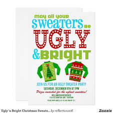 ugly u0027n bright christmas sweater party invitation zazzle