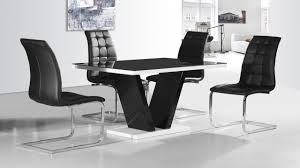 Dining Tables With 4 Chairs Spectrum Round Black Glass Dining Table With 4 Chairs
