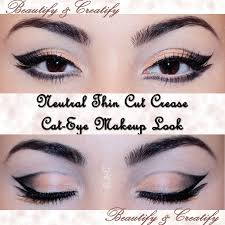 beautify and creatify neutral thin cut crease cat eye makeup look