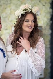 pregnant binky felstead glows in white dress as she joins made in