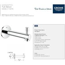 grohe 13275001 concetto polished chrome tub spouts tub shower previous next