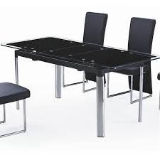 table cuisine verre trempé table en verre noir avec rallonge extensible achat vente table à