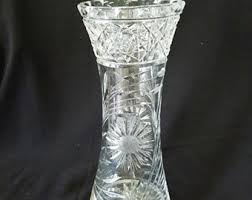 Antique Lead Crystal Vase Abp Cut Glass Vase Etsy