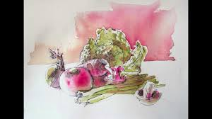 Glynis Barnes Mellish Vegetable Still Life A Pen And Wash Study Youtube