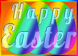 three rainbow happy easter eggs free wallpaper