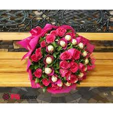 bouquet of roses bouquet of pink roses and chocolates fg davao flowers gifts