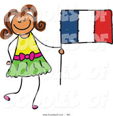 Image Of French Flag Vector Clipart Of A Little Holding A Striped French Flag By