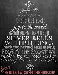 christmas songs chalk printable sweet c u0027s designs