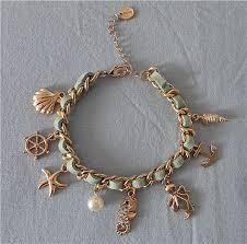 gold chain charm bracelet images Ocean charm bracelet brand design gold chain blue suede starfish jpg