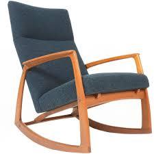 Modern Rocking Chair Png Danish Modern Teak Rocking Chair In Aegean Blue Wool Blue Wool