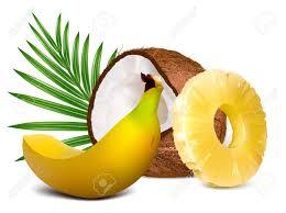 editable fruit tropical fruits pineapple coconut banana fully editable