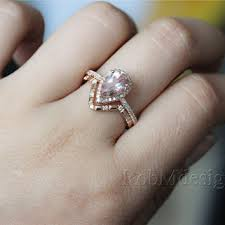 morganite gold engagement ring 14k gold 2pcs morganite engagement from robmdesign on etsy