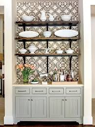 Open Kitchen Shelves Instead Of Cabinets Why We U0027re Loving Wallpaper Shelves Wet Bars And Wall Papers