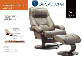 fjords admiral ergonomic leather c frame recliner chair ottoman