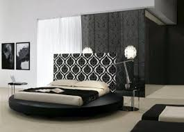 Circular Bed Frame And White Circular Bed With Patterned Headboard