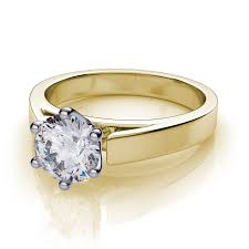 engagement ring settings only 6 prong cathedral solitaire engagement ring 14k yellow gold