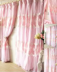 Pink Curtains For Nursery by Pink Cotton And Tulle Embroidery Lace Princess Kids Curtain