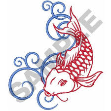 animals embroidery design koi fish outline water swirls from