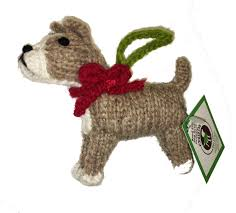 knitted bull terrier ornaments