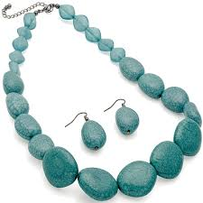 turquoise stone necklace dress wear ladies turquoise chunky bead imitation stone necklace