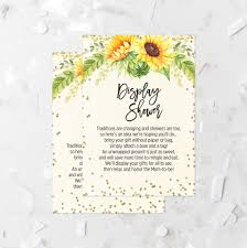 Gift Card Shower Invitation Sunflower Baby Shower Display Card Printable Autumn Baby
