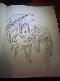 angel demon pencil sketch deviantart re drawing of u0027angel and
