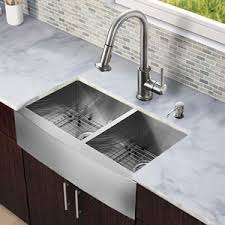 Kitchen Sink Set by Double Bowl Farmhouse Sink With Backsplash Including Premier