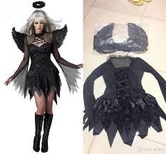 Exotic Halloween Costumes Wholesale Pop Black Dark Devil Fallen Angel Costume Wing