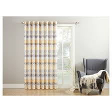 Extra Wide Panel Curtains Denzel Extra Wide Geometric Print Casual Textured Patio Door