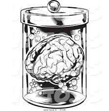 halloween images black and white vector of a human brain in a jar black and white halloween line