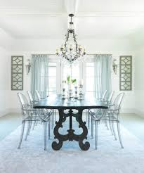 lucite dining chairs room beach style with white beadboard wall