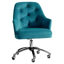 Peacock Blue Chair Peacock Velvet Tufted Desk Chair Everything Turquoise