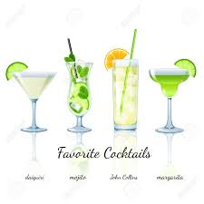 tropical cocktail silhouette favorite cocktails set isolated daiquiri mojito john collins
