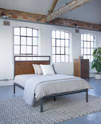 baxter square bed industrial warehouse vintage style bedroom
