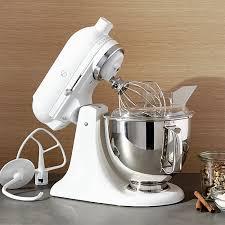 Mini Kitchen Aid Mixer by Kitchenaid Ksm150psww Artisan White On White Stand Crate And Barrel