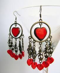 Red Chandelier by Chandelier Earrings With Heart Brass Tone Earrings With Red Glass
