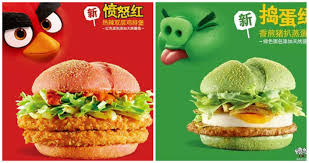 angry birdgers mcdonald u0027s china unveils green u0026 red burgers to