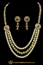 pearls necklace set jewellery images Red polki pearl necklace set by punjabi traditional jewellery jpg