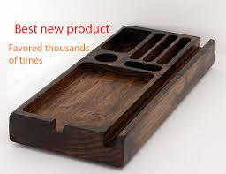decorative charging station desk organizer wood phone docking station charging station