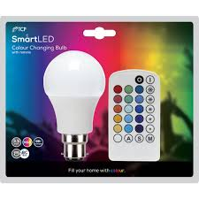 color changing light bulb with remote tcp classic remote bulb bc 3 5w 1pk rgb at wilko com