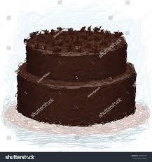 closeup illustration double layered chocolate cake stock vector