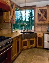 rustic kitchen corner farmhouse sink corner kitchen window
