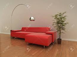 illustration of a modern red sofa lamp and plant on a shiny