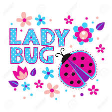 cute girlish illustration with ladybug and flowers vector